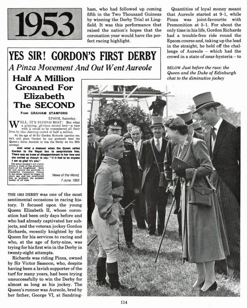 Sir Gordon Richards congratulated by The Queen after riding Pinza to victory in the 1953 Derby.