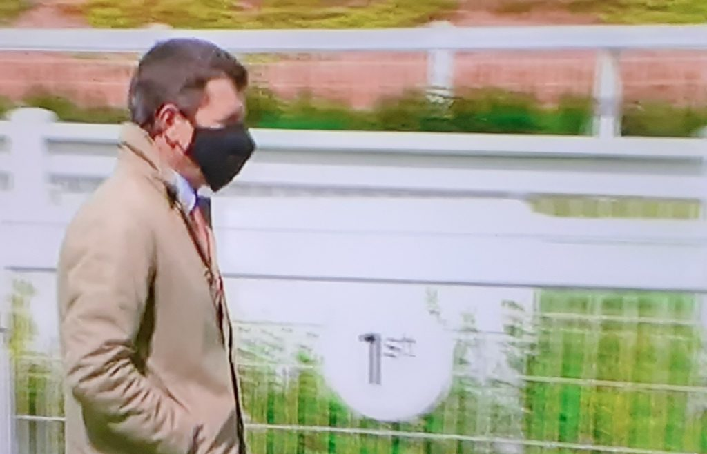 Trainer Andrew Balding: masked in COVID-19 protocol.