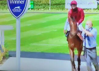 Jockey Adam Kirby returns to the winner's enclosure with fromthehorsesmouth.info 8-1 tip Guru.