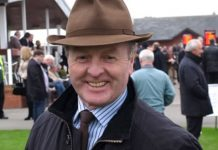 Jonjo O'Neill trained Cloth Cap (2.40) goes to post in the 2 miles 7 1/2 furlongs Listed Premier Chase at Kelso on Saturday