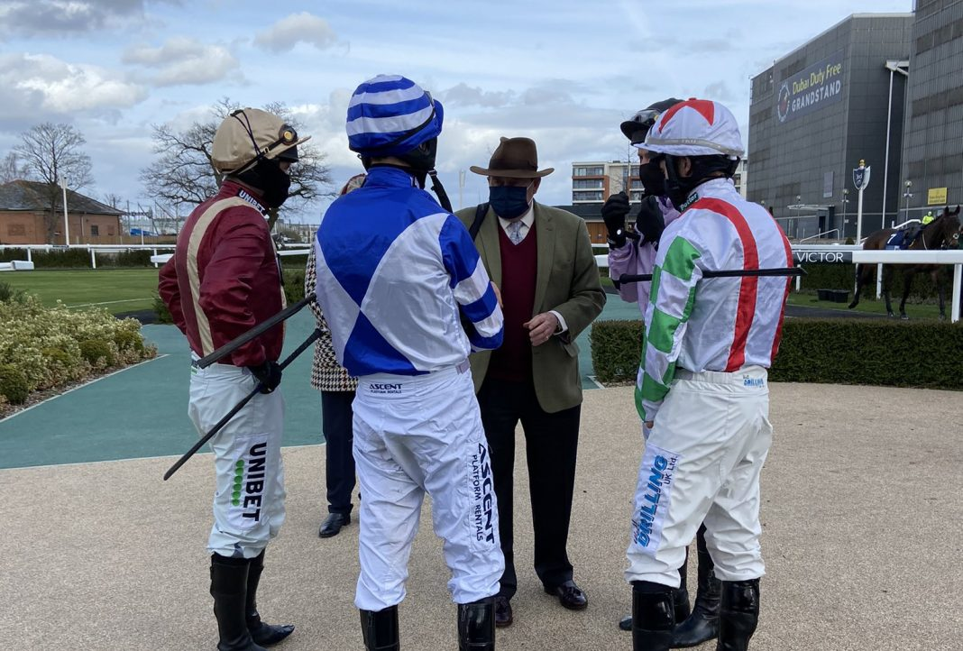 Getting ready for their rides at Newbury
