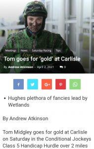 Headline each-way tip Coup De Gold 16-1 finished third at Carlisle under Tom Midgley.