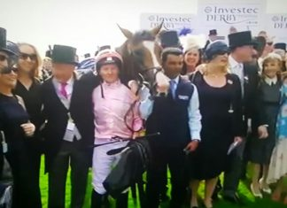 Team O'Brien: Anthony Van Dyke wins the Investec 2019 Derby.
