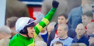 Barry Geraghty celebrates after riding Epatante to victory in the Unibet Cheltenham Champion Hurdle.