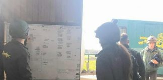 Jockeys look at the riding out chart at Philip Kirby racing stables, in the wake of the coronavirus. Photo: courtesy Philip Kirby.