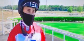 Masked-jockey Ben Robinson at Newcastle as racing returned on June 1, amid COVID-19 lockdown.