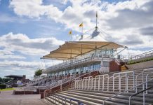 The empty stands as Goodwood races behind closed doors
