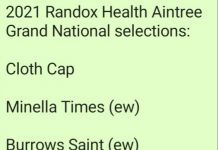 Aintree Grand National fromthehorsesmouth.info selections bore fruit: Minella Times 11-1 (1st), Any Second Now 15-2 (3rd), Burrows Saint 9-1 (4th).