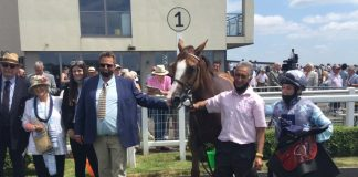 Lady Elysia (5-2) ridden by George Dobie won the At The Races Handicap over 1m 3f at Bath.