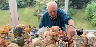 Mick Easterby auctioning tea pots in aid of Yorkshire Air Ambulance.