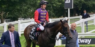Dettori sporting the Queen's colours on Reach For The Moon!