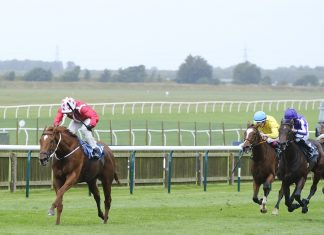 Saffron Beach won Group 1 Kingdom of Bahrain Sun Chariot Stakes at Newmarket. Image Twitter - Newmarket racecourse